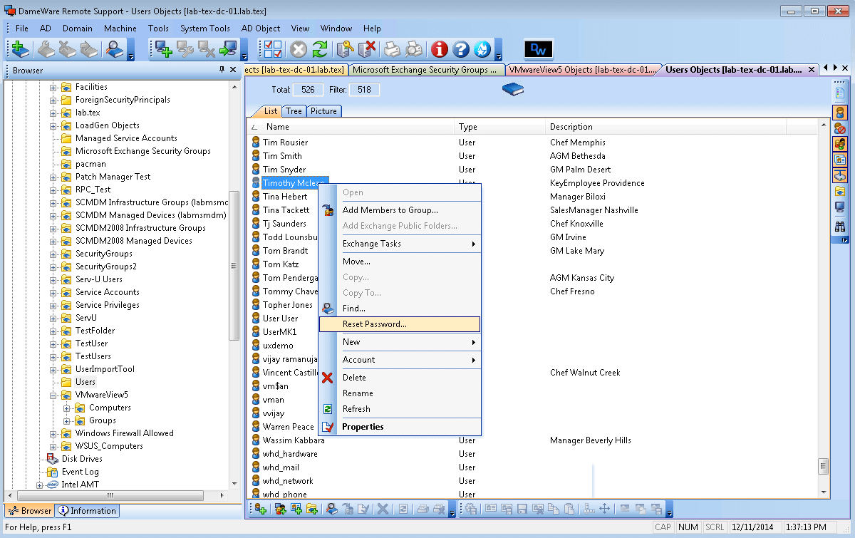 Image of DameWare Remote Administration Tools used to Remotely Reset System Passwords