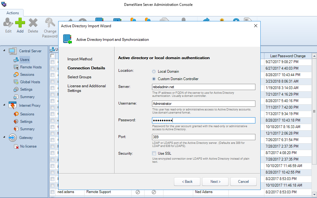 Central Server and Administration Console   Dameware